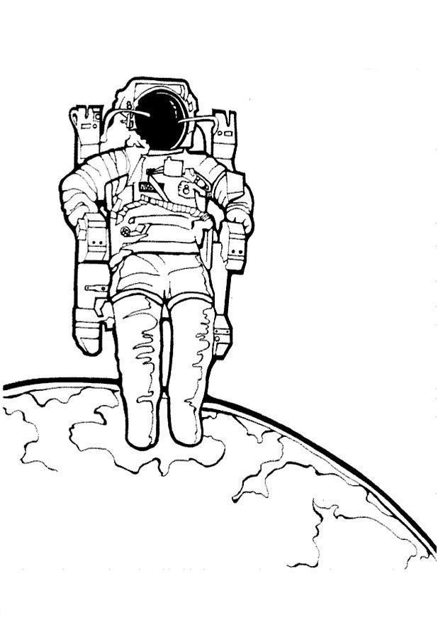 Космонавт шагает по планете Раскрашивать раскраски для мальчиков