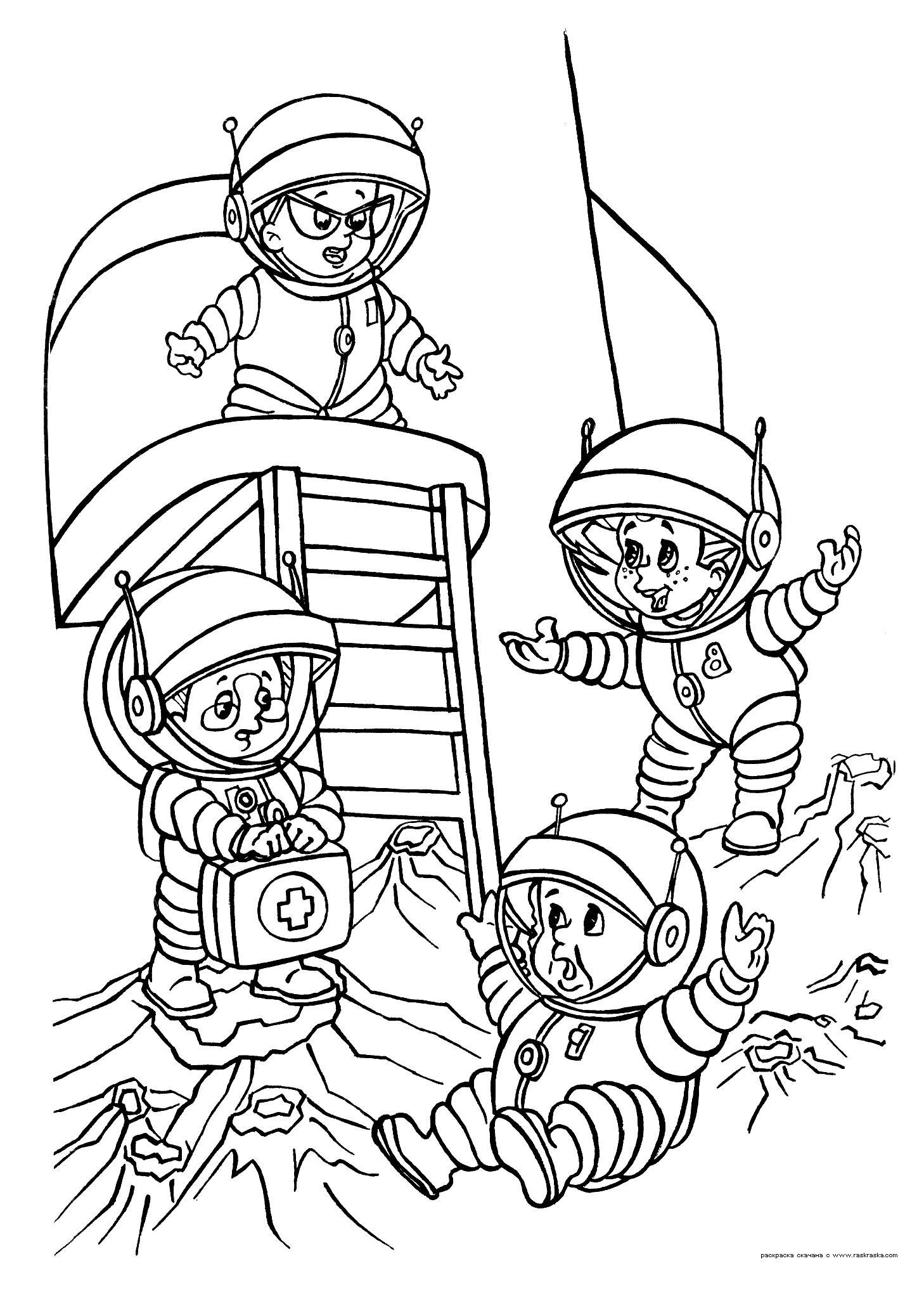 Юные космонавты Раскрашивать раскраски для мальчиков
