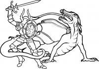Рыцарь бьет мечом дракона Раскраски для мальчиков