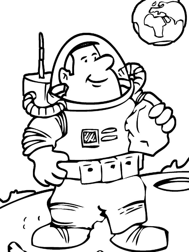 Космонавт вдали от земли Распечатать раскраски для мальчиков