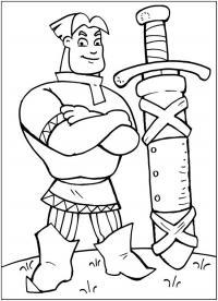 Алеша попович и его меч Раскраски для мальчиков