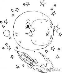 День космонавтики луна и ракета Раскрашивать раскраски для мальчиков