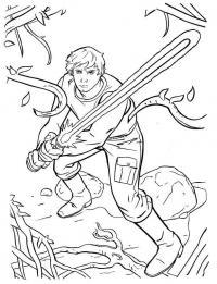 Джедай с мечом рубит корни Раскраски для мальчиков