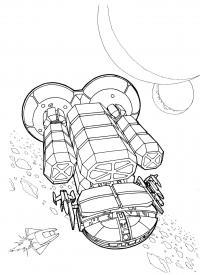 Космическая станция и корабли Распечатать раскраски для мальчиков