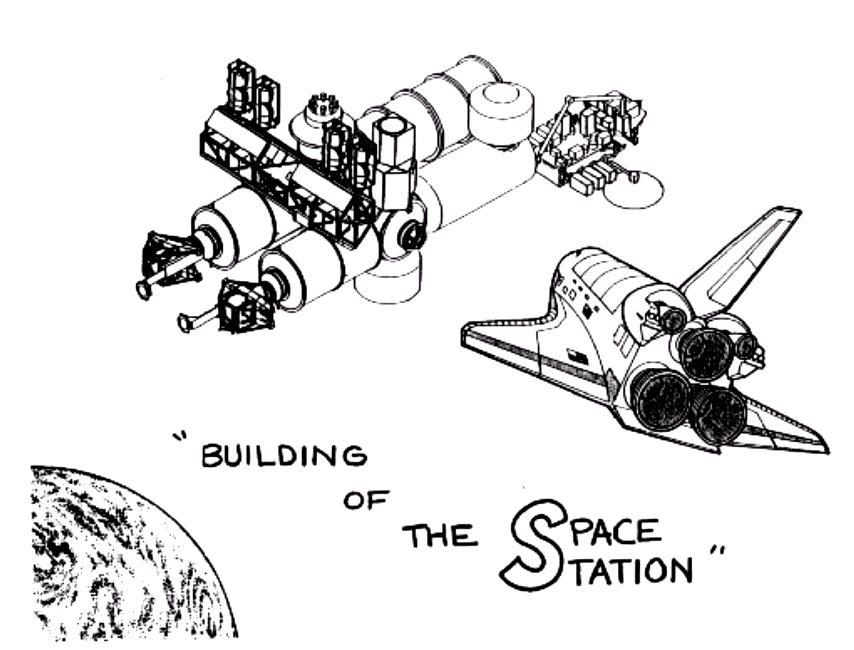 Строительство космической станции Распечатать раскраски для мальчиков
