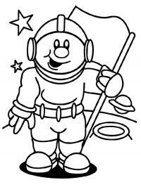 День космонавтики космонавт с флагом Распечатать раскраски для мальчиков