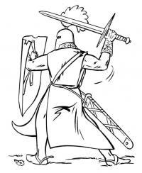 Рыцарь готовится к удару Раскрашивать раскраски для мальчиков