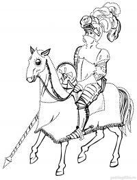 Рыцарь на коне с мечом Раскрашивать раскраски для мальчиков