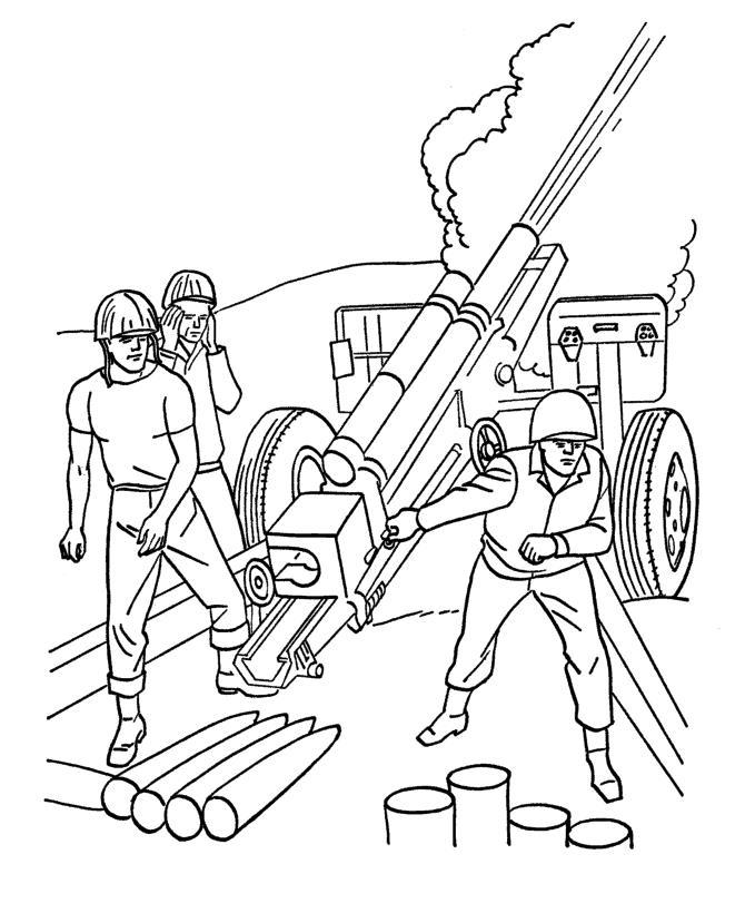 Огонь из артиллерии Раскраски для мальчиков