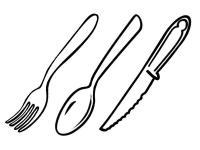 Нож вилка и ложка Раскраски для детей мальчиков