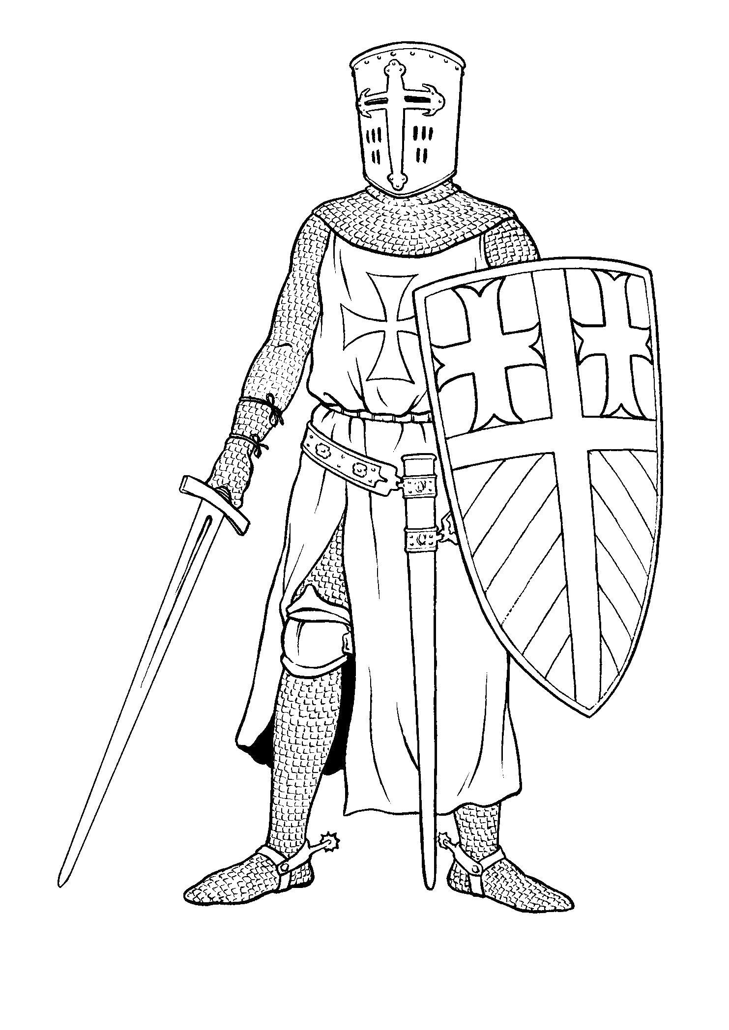 Рыцарь тевтонец  и меч Раскраски для мальчиков