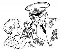Ребенок дарит цветы ветерану Раскраски для мальчиков