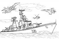 Военный корабль и самолеты Раскрашивать раскраски для мальчиков