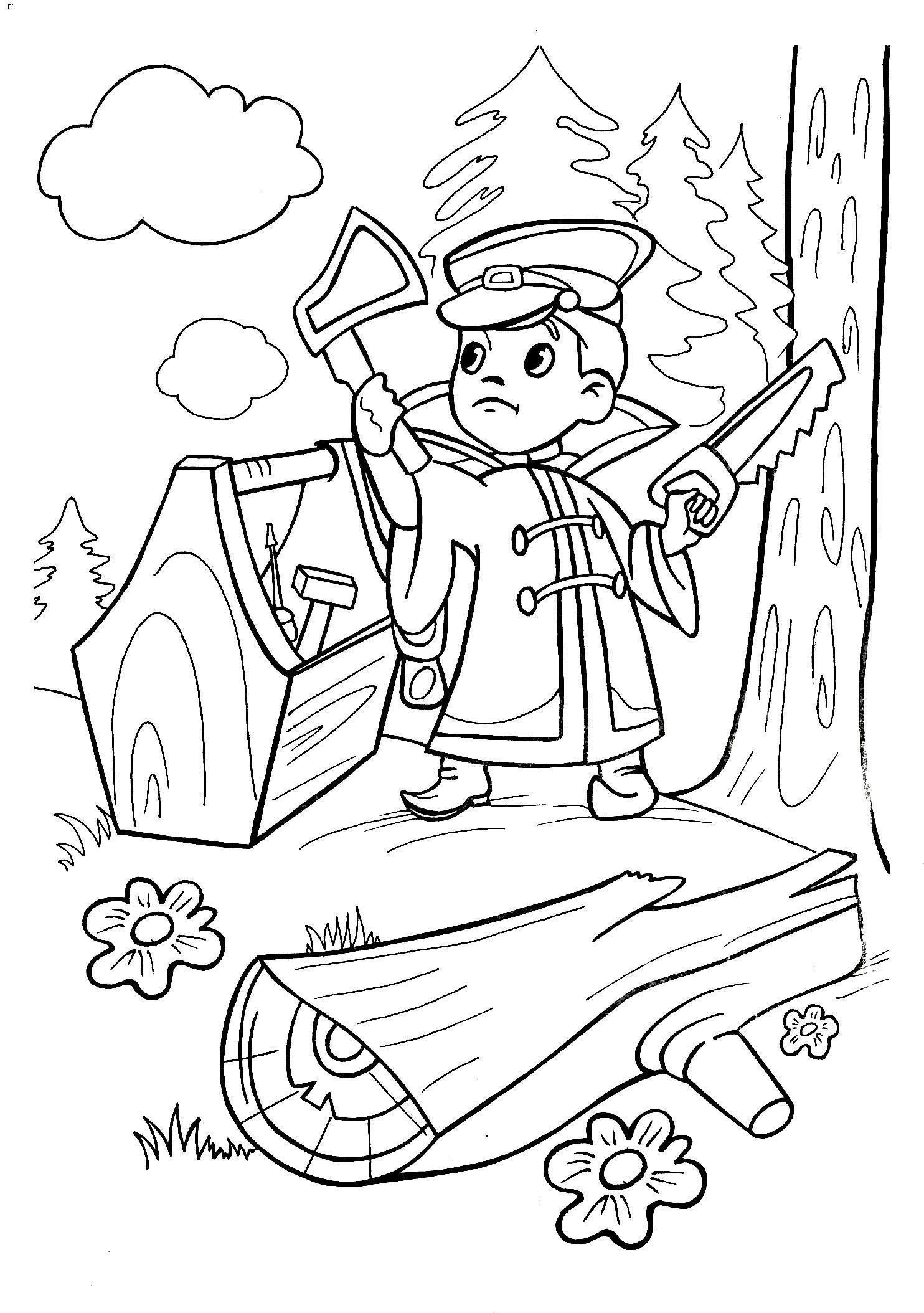Мальчик с топором Раскраски для детей мальчиков