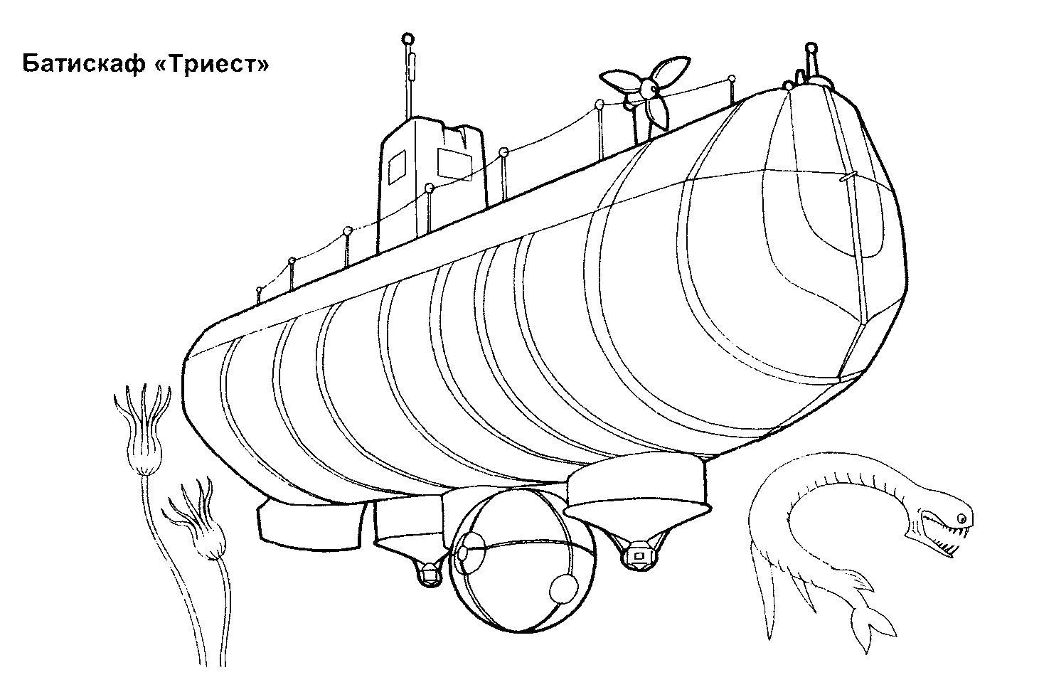 Подводные лодки батискаф триест Раскрашивать раскраски для мальчиков