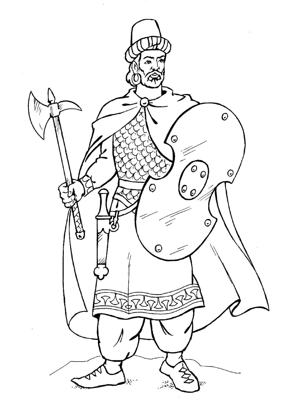 Воин с топором Раскраски для детей мальчиков