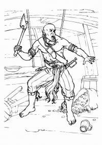 Воин на корабле с топором Раскраски для детей мальчиков