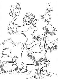 Девушка рубит дерево Раскраски для детей мальчиков
