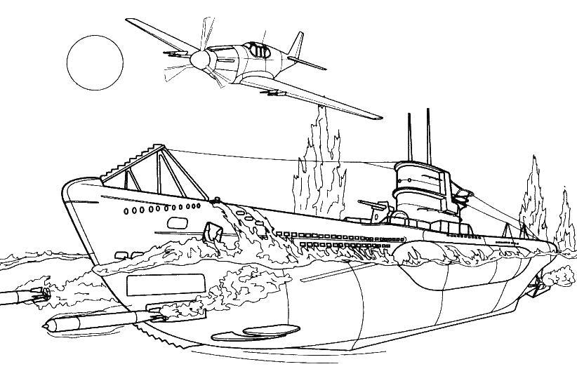 Подводная лодка и самолет самолет торпеды солнце океан ...