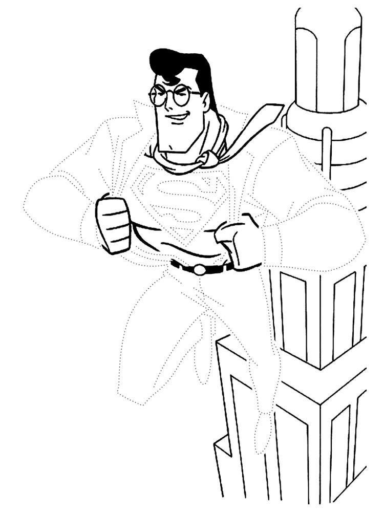 Супермен обведи по точкам Раскраски для мальчиков