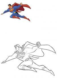 Супермен раскрась по образцу Раскраски для мальчиков