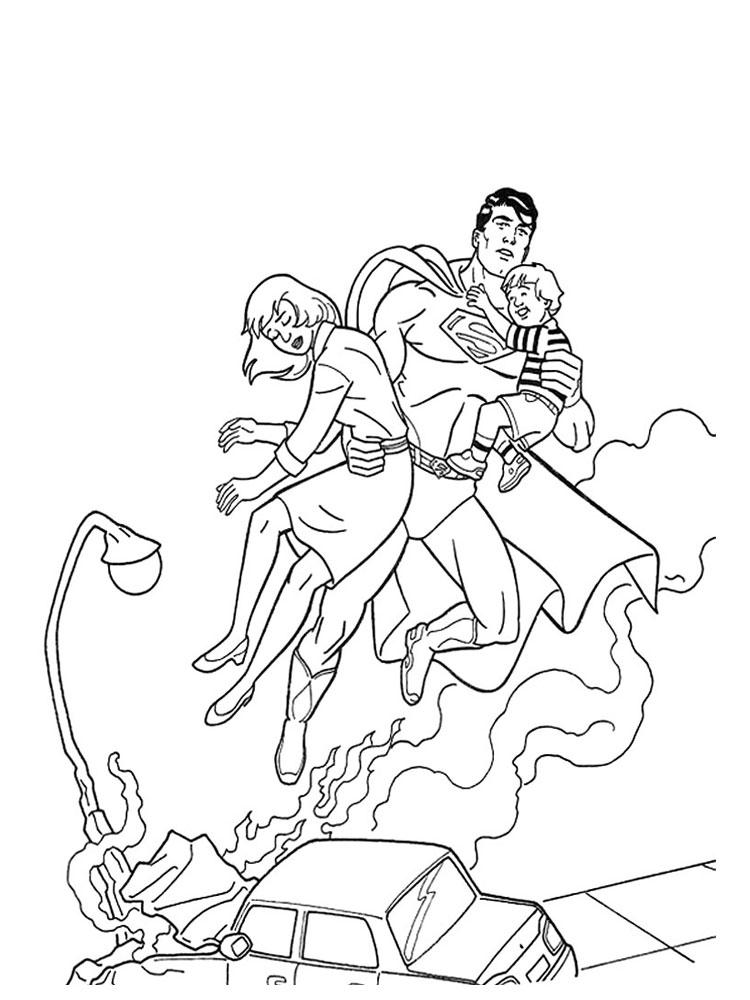 Супермен спасает маму и малыша Раскраски для мальчиков