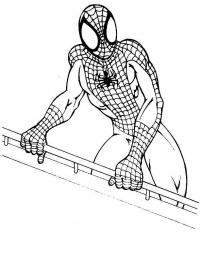 Человек паук на балконе Распечатать раскраски для мальчиков