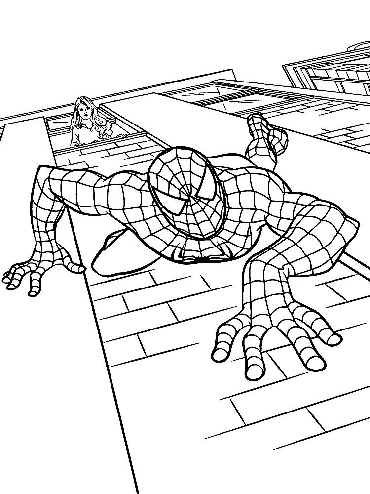 Человек паук выпрыгнул из окна Раскраски для мальчиков
