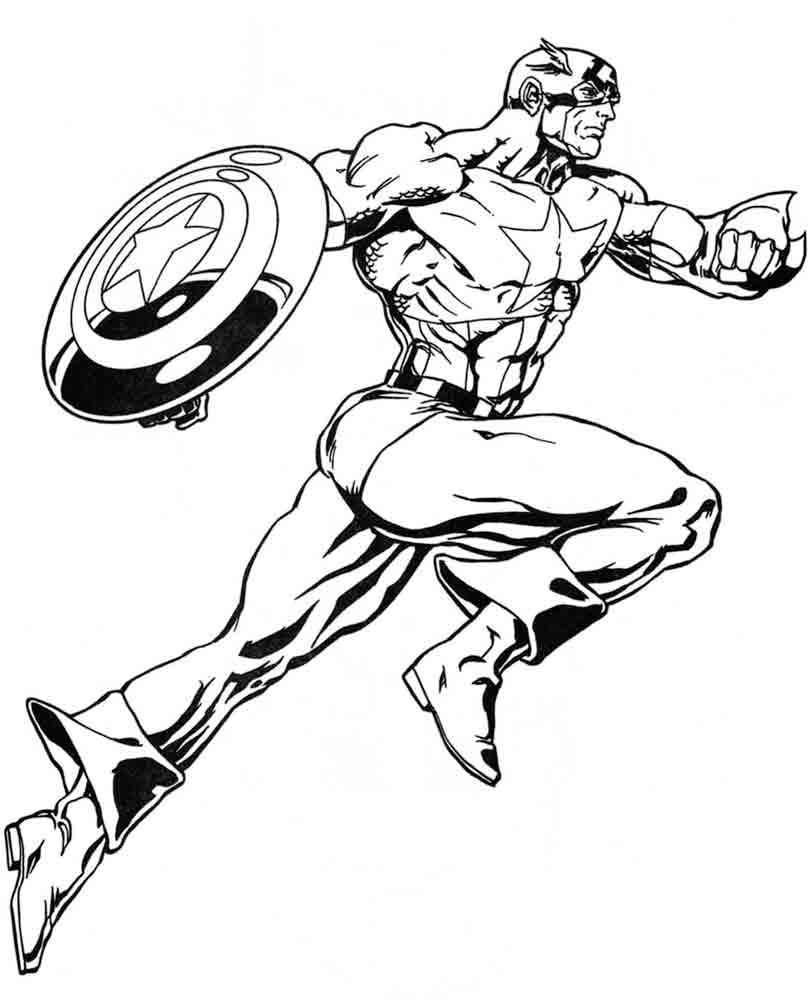 Капитан америка бежит Распечатать раскраски для мальчиков