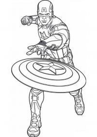 Капитан америка кидает щит Распечатать раскраски для мальчиков