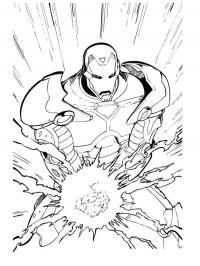 Железный человек использует силу Раскраски для мальчиков