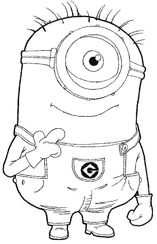 Добрый миньон с одним глазом Раскраски для детей мальчиков