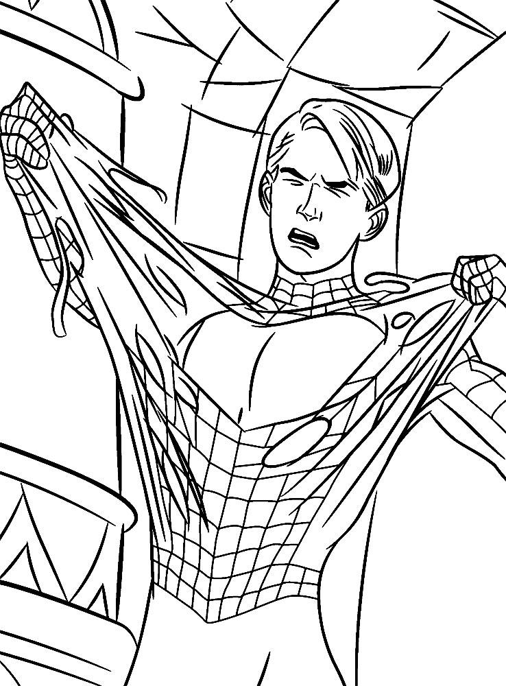 Человек паук сдирает черный костюм Раскраски для мальчиков