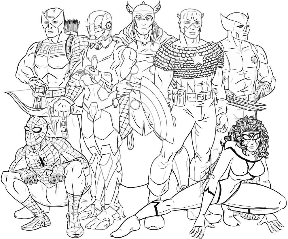 Железный человек и другие герои комиксов Распечатать раскраски для мальчиков
