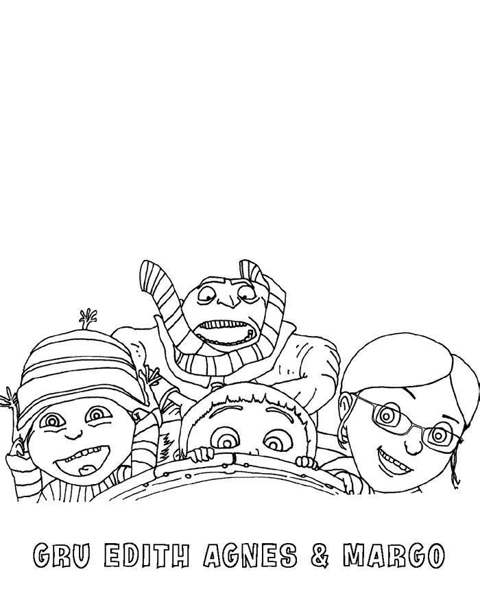 Грю, эдит, агнес и марго Раскраски для мальчиков бесплатно