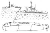 Подводные лодки на задании Скачать раскраски для мальчиков