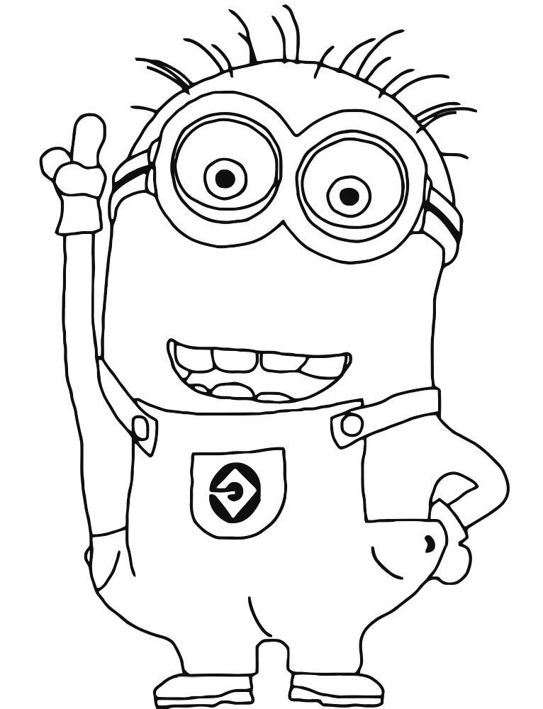 Миньон поднял руку вверх Раскраски для детей мальчиков