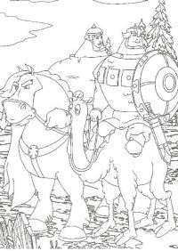 Богатыри на лошади и верблюде из сказки три богатыря Скачать раскраски для мальчиков