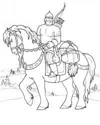 Богатырь на лошади везет связанного Скачать раскраски для мальчиков