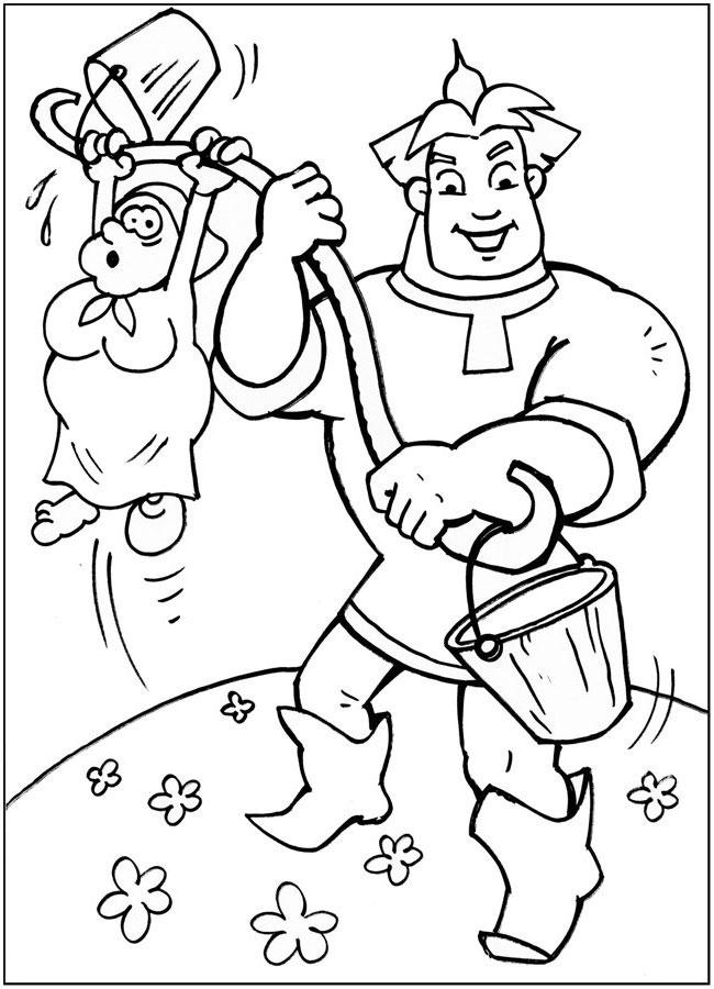 Алеша попович и старуха на коромысле Распечатать раскраски для мальчиков