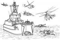 Военный корабль на воде Скачать раскраски для мальчиков