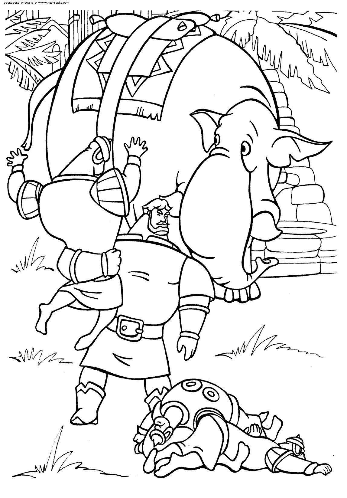 Илья муромец сражается и слон Раскраски для мальчиков