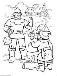Илья муромец и односельчане Раскраски для мальчиков