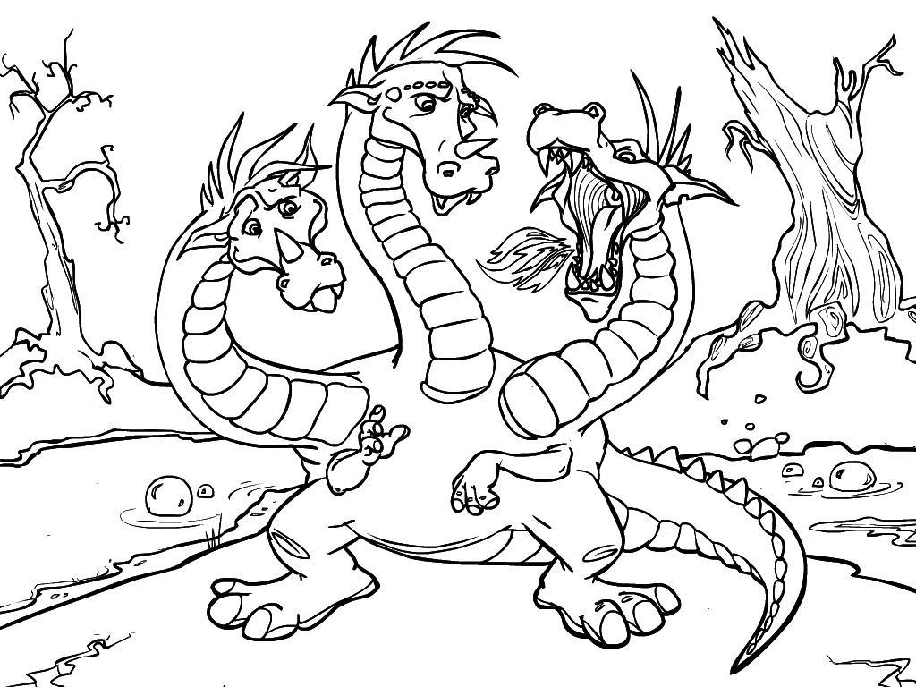 Змей горыныч извергает пламя Раскраски для мальчиков