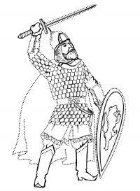 Богатырь с мечем Раскраски для детей мальчиков