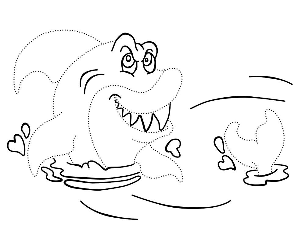 Акула в воде Раскраски для мальчиков бесплатно