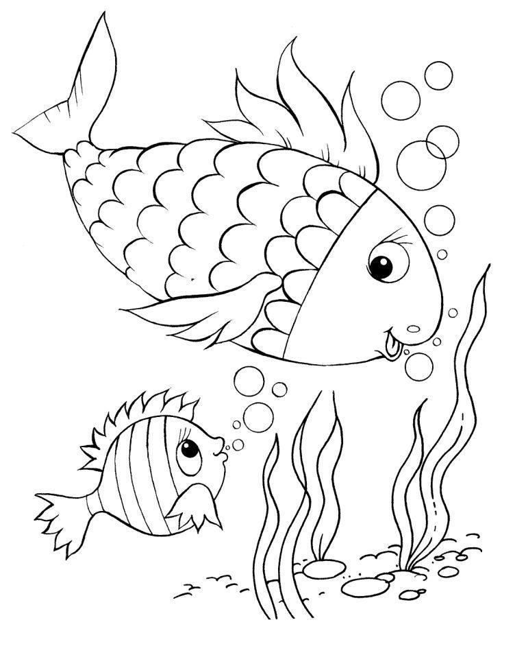 Рыбки большая и маленькая Распечатать раскраски для мальчиков
