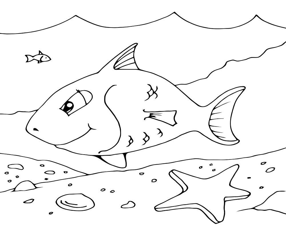 Морское дно и рыбка Распечатать раскраски для мальчиков