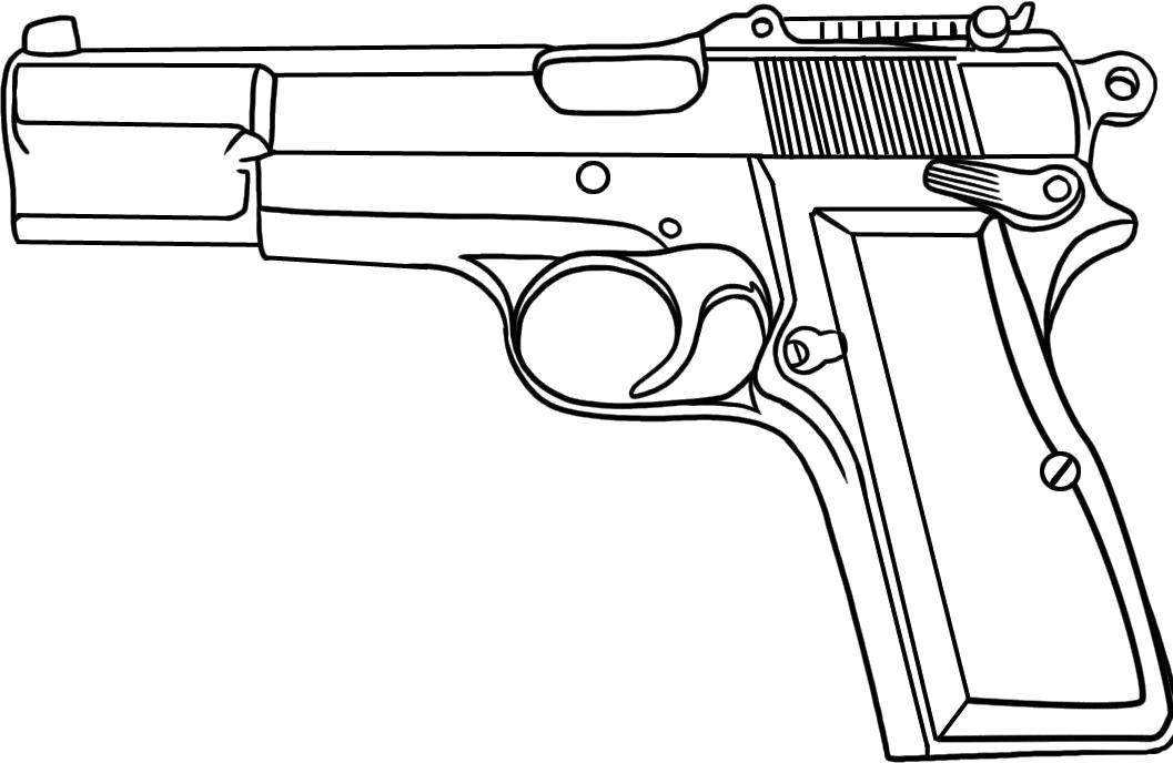 Раскраска пистолет распечатать