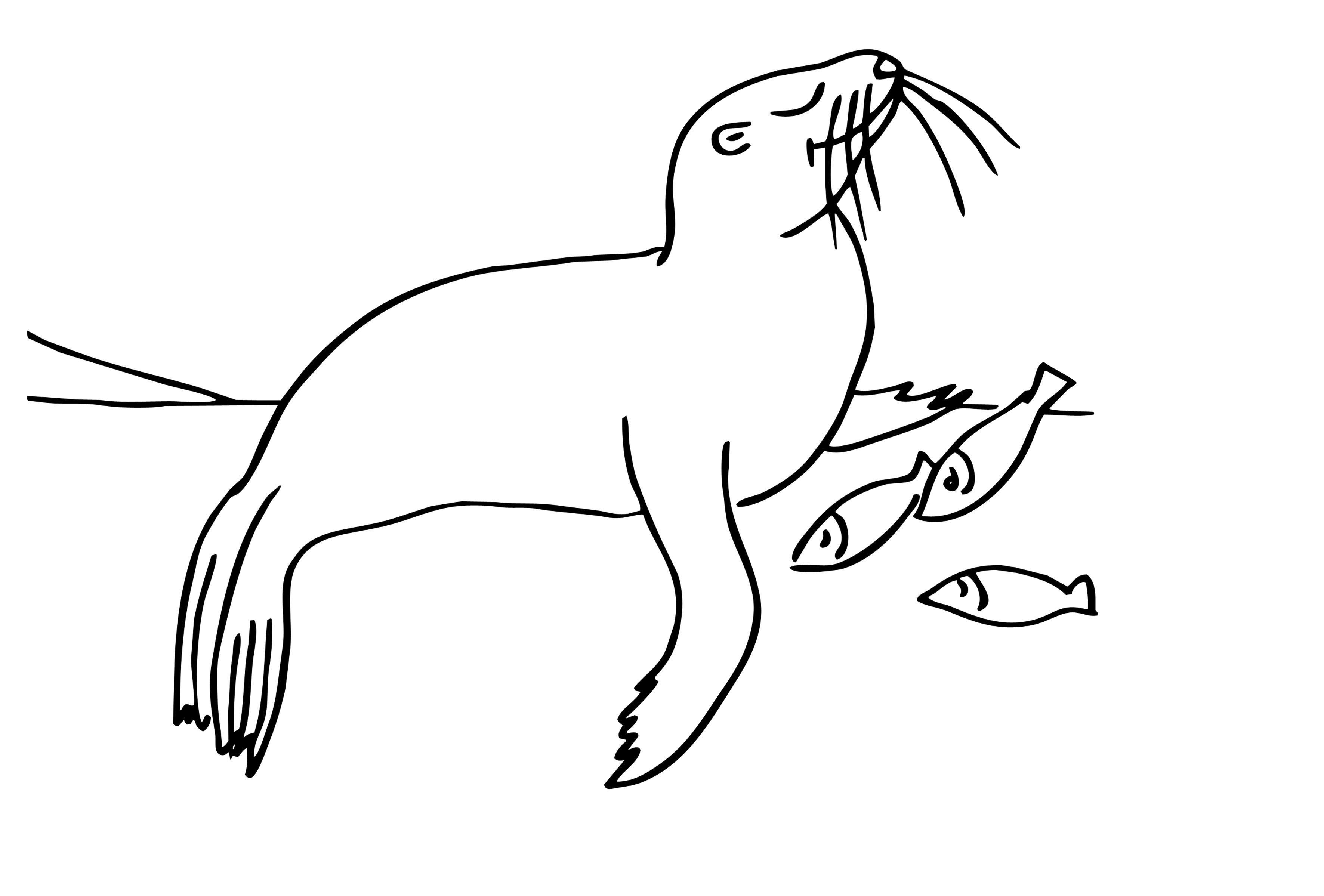 Котик с рыбкой Распечатать раскраски для мальчиков